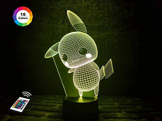 """3D ночник """"Пикачу"""" (УВЕЛИЧЕННОЕ ИЗОБРАЖЕНИЕ) + пульт ДУ + сетевой адаптер + батарейки (3ААА)  3DTOYSLAMP"""