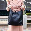 Комплект двостороння чорна бежева Сумка-шоппер Двостороння 2в1 з сумочкою-вкладишем косметичка, фото 7