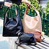 Комплект двостороння коричнева бежева Сумка-шоппер Двостороння 2в1 з сумочкою-вкладишем косметичка, фото 8