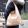 Комплект двостороння коричнева бежева Сумка-шоппер Двостороння 2в1 з сумочкою-вкладишем косметичка, фото 5