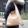 Комплект двусторонняя коричневая бежевая Сумка-шоппер Двустороняя 2в1 с сумочкой-вкладышем косметичка, фото 5