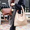 Комплект двостороння коричнева бежева Сумка-шоппер Двостороння 2в1 з сумочкою-вкладишем косметичка, фото 7
