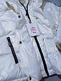 Куртка жіноча коротка з капюшоном молочна L-2XL еврозіма, фото 2