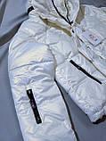 Куртка жіноча коротка з капюшоном молочна L-2XL еврозіма, фото 3