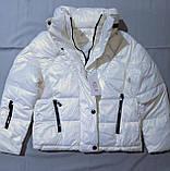 Куртка жіноча коротка з капюшоном молочна L-2XL еврозіма, фото 5