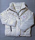 Куртка жіноча коротка з капюшоном молочна L-2XL еврозіма, фото 6