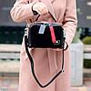 Модна чорна замшева сумка кроссбоди натуральна замша широкий ремінь через плече, фото 4