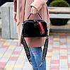 Модна чорна замшева сумка кроссбоди натуральна замша широкий ремінь через плече, фото 6