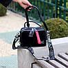 Модна чорна замшева сумка кроссбоди натуральна замша широкий ремінь через плече, фото 7