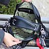 Модна чорна замшева сумка кроссбоди натуральна замша широкий ремінь через плече, фото 8