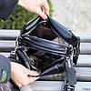 Стильная черная городская женская сумка кроссбоди Регулируемый широкий ремень на плечо, фото 4