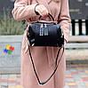 Стильна чорна міська жіноча сумка кроссбоди широкий Регульований ремінь на плече, фото 5