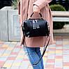 Стильна чорна міська жіноча сумка кроссбоди широкий Регульований ремінь на плече, фото 6