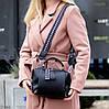 Стильная черная городская женская сумка кроссбоди Регулируемый широкий ремень на плечо, фото 7