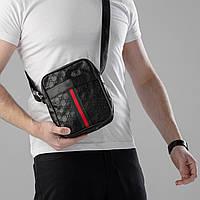 Мужская сумка Gucci через плечо Кожаная сумка Гуччи Планшетка cумка Мессенджер