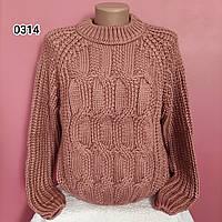 Женский стильный укорочений свитер с узорами Oversize, фото 1