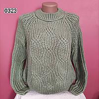 Молодежный теплый свитер - грубая объёмная вязка OVERSIZE, фото 1