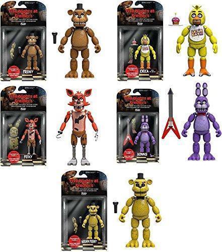 Набор 5 фигур Five Nights at Freddy's. Freddy, Chica, Foxy, Bonnie, Gold Freddy Оригинал из США Funko
