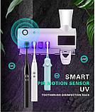 Ультрафіолетовий стерилізатор зубних щіток з дозатором зубної пасти, фото 2