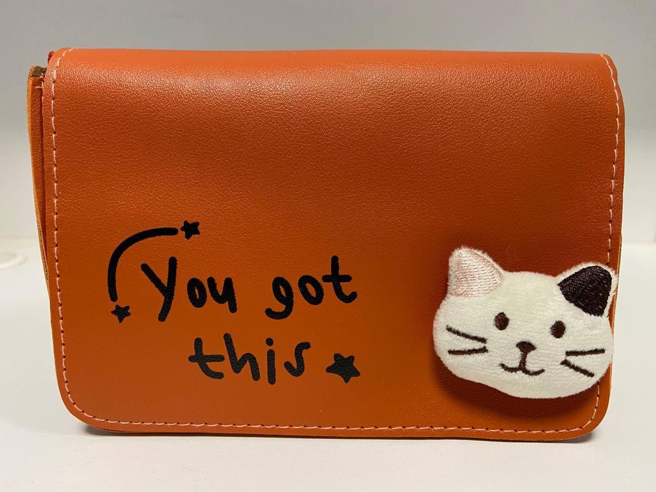 Стильна жіноча сумка з котиком D5052 Помаранчева