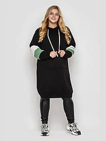 Платье-худи женское теплое длинное Большие Размеры 52, 54, 56, 58