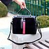 Модельна чорна замшева сумка кроссбоди натуральна замша через плече, фото 5