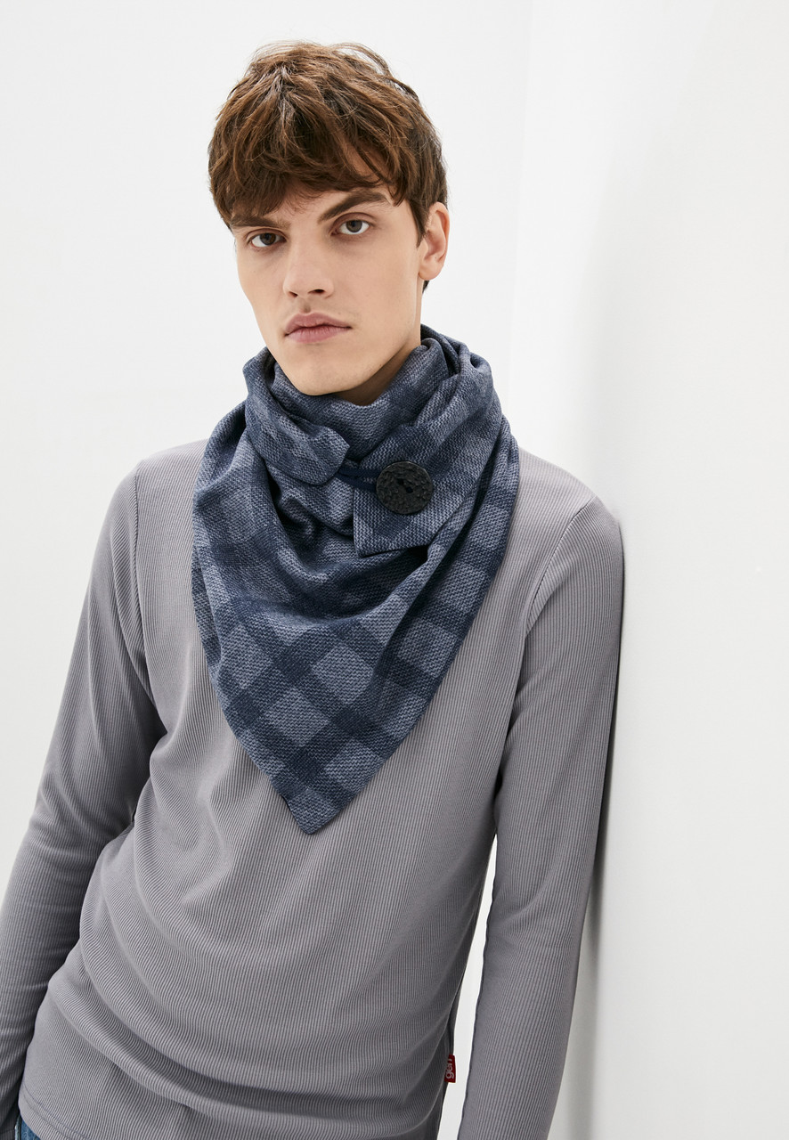 """Шарф-бактус """"эдинбург"""", темно синяя клетка шарф, шарф-снуд, большой шарф, теплый мужской шарф, подарок мужчине"""