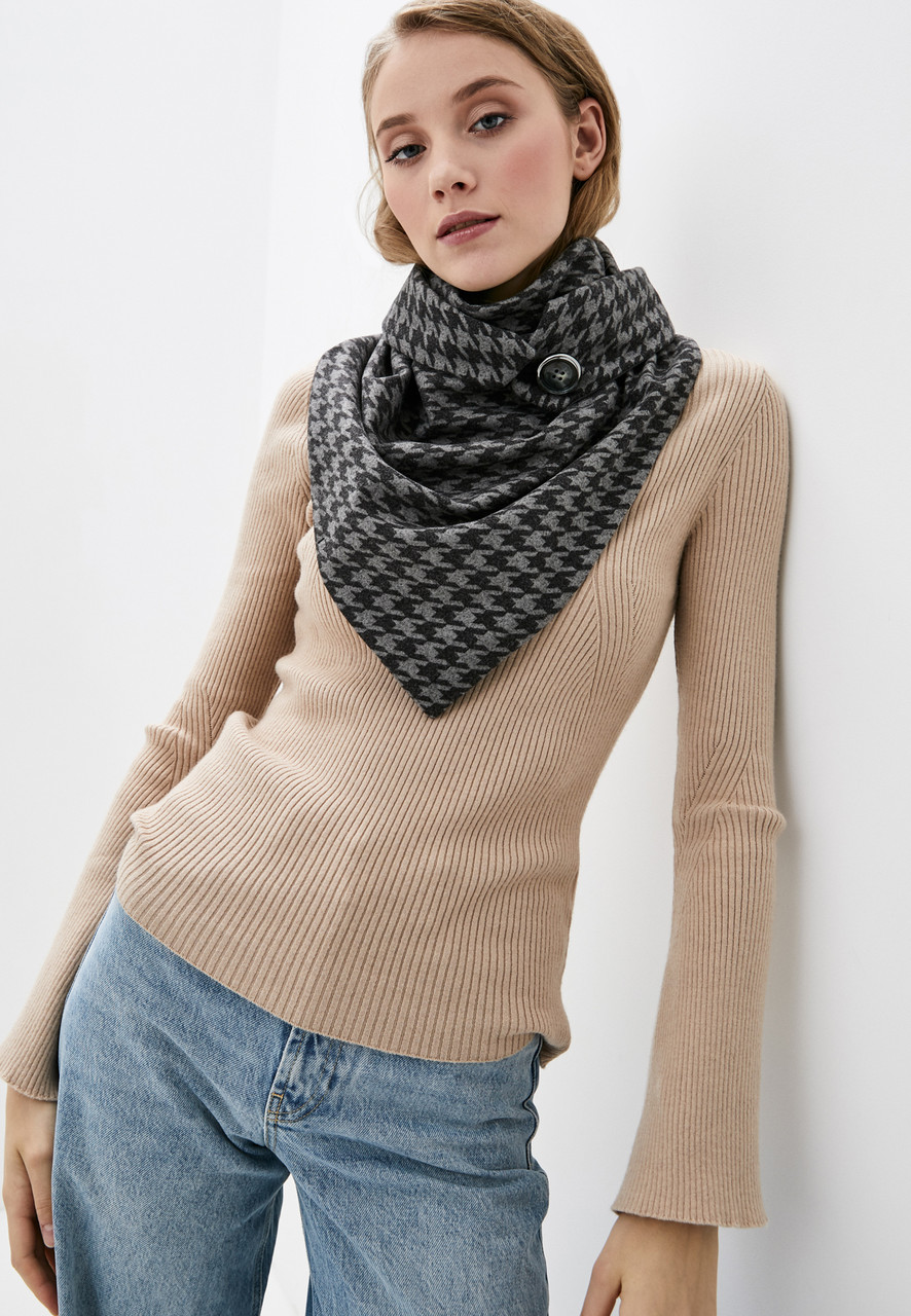"""Шарф-бактус """"эдинбург"""",  черная лапка шарф на пуговице, женский шарф, большой женский шарф, подарок женщине"""