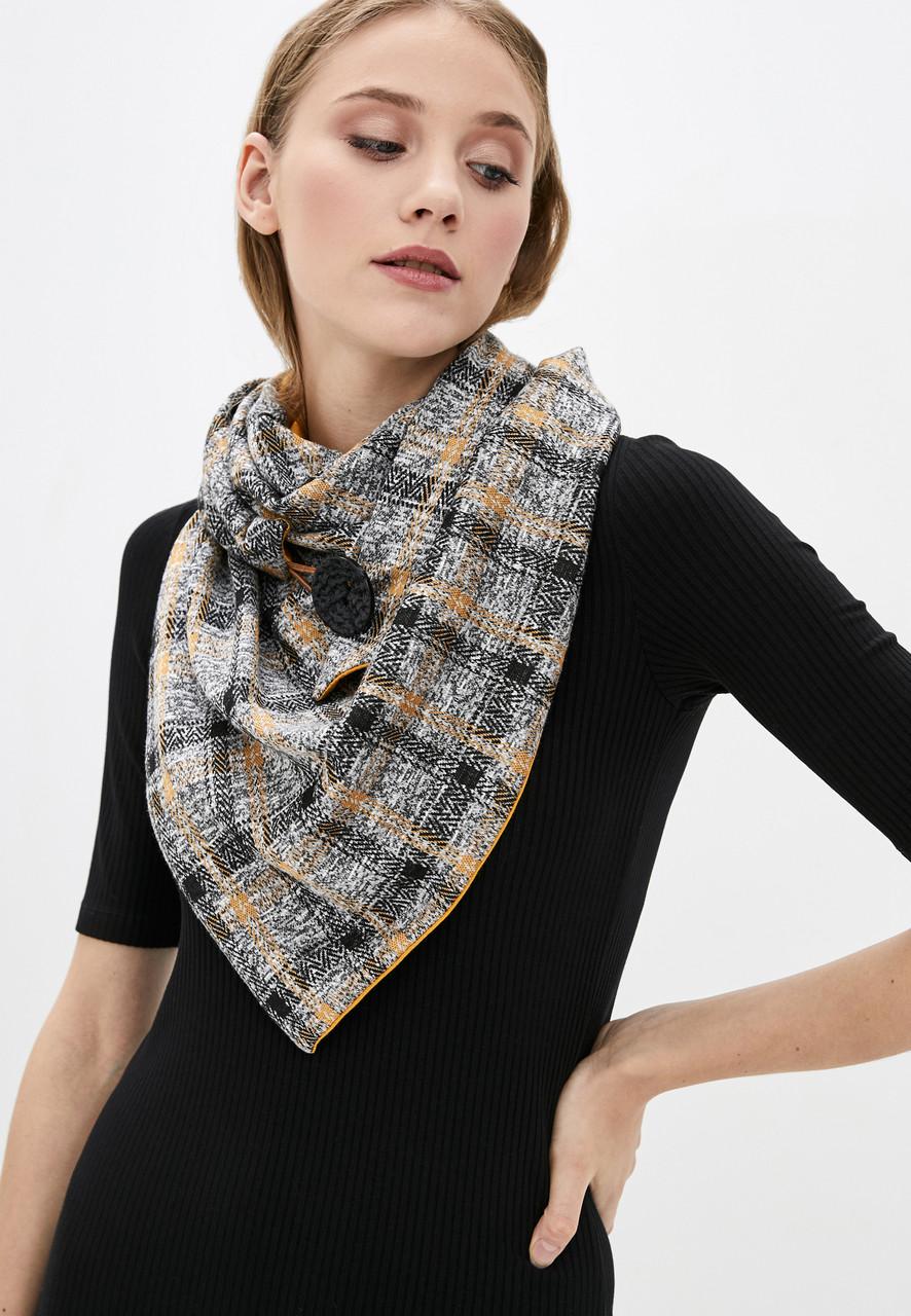 "Шарф-бактус ""эдинбург"", коричневый с желтым 2х сторонний, женский шарф, большой женский шарф, подарок женщине"