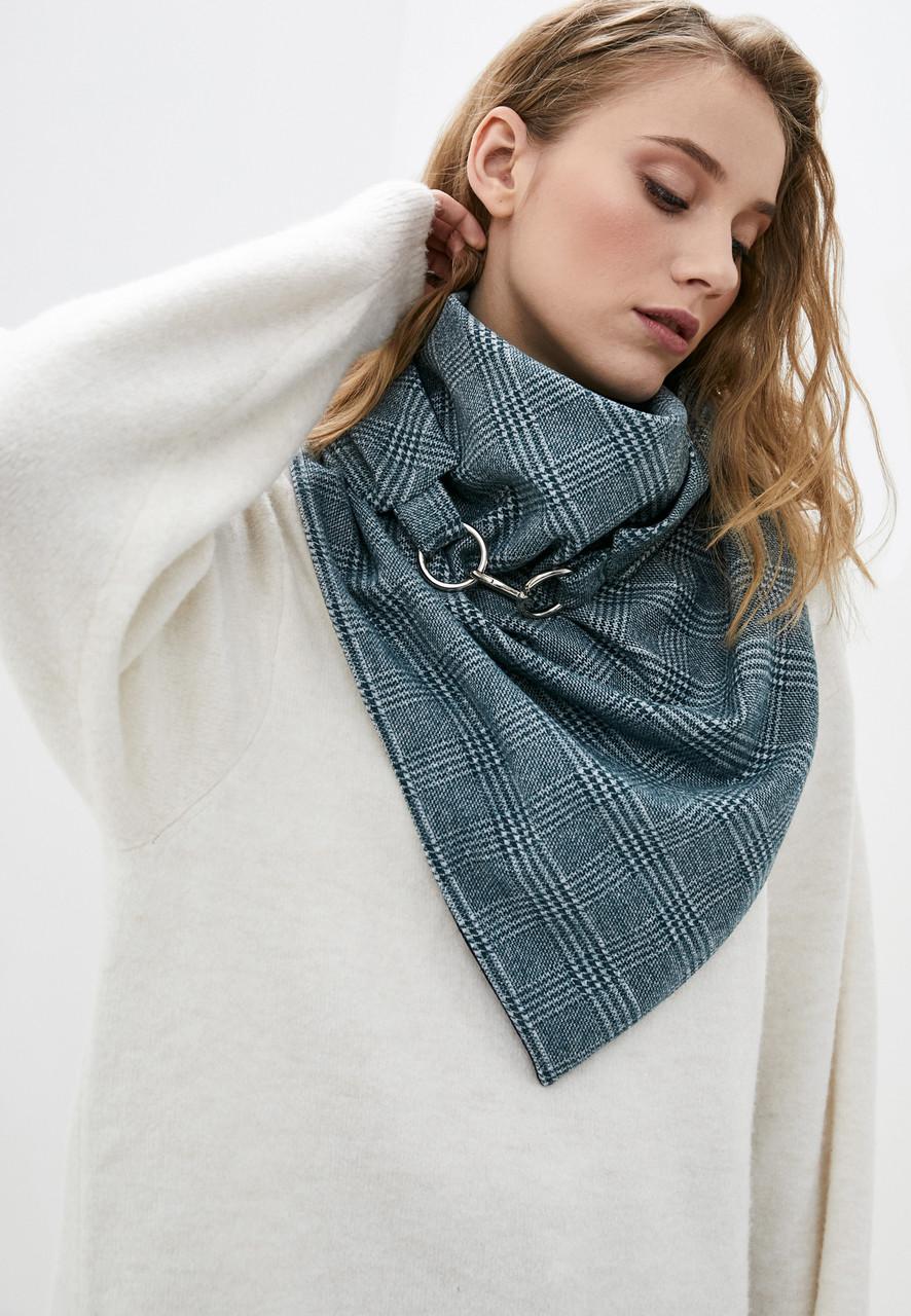 """Шарф-бактус """"единбург"""", бірюзовий шарф на карабінах, жіночий шарф, великий жіночий шарф, подарунок жінці"""