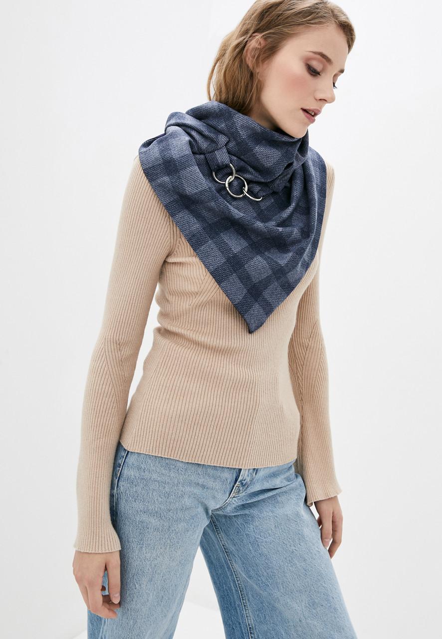 "Шарф-бактус ""эдинбург"",  бирюзовый шарф на карабинах, женский шарф, большой женский шарф, подарок женщине"