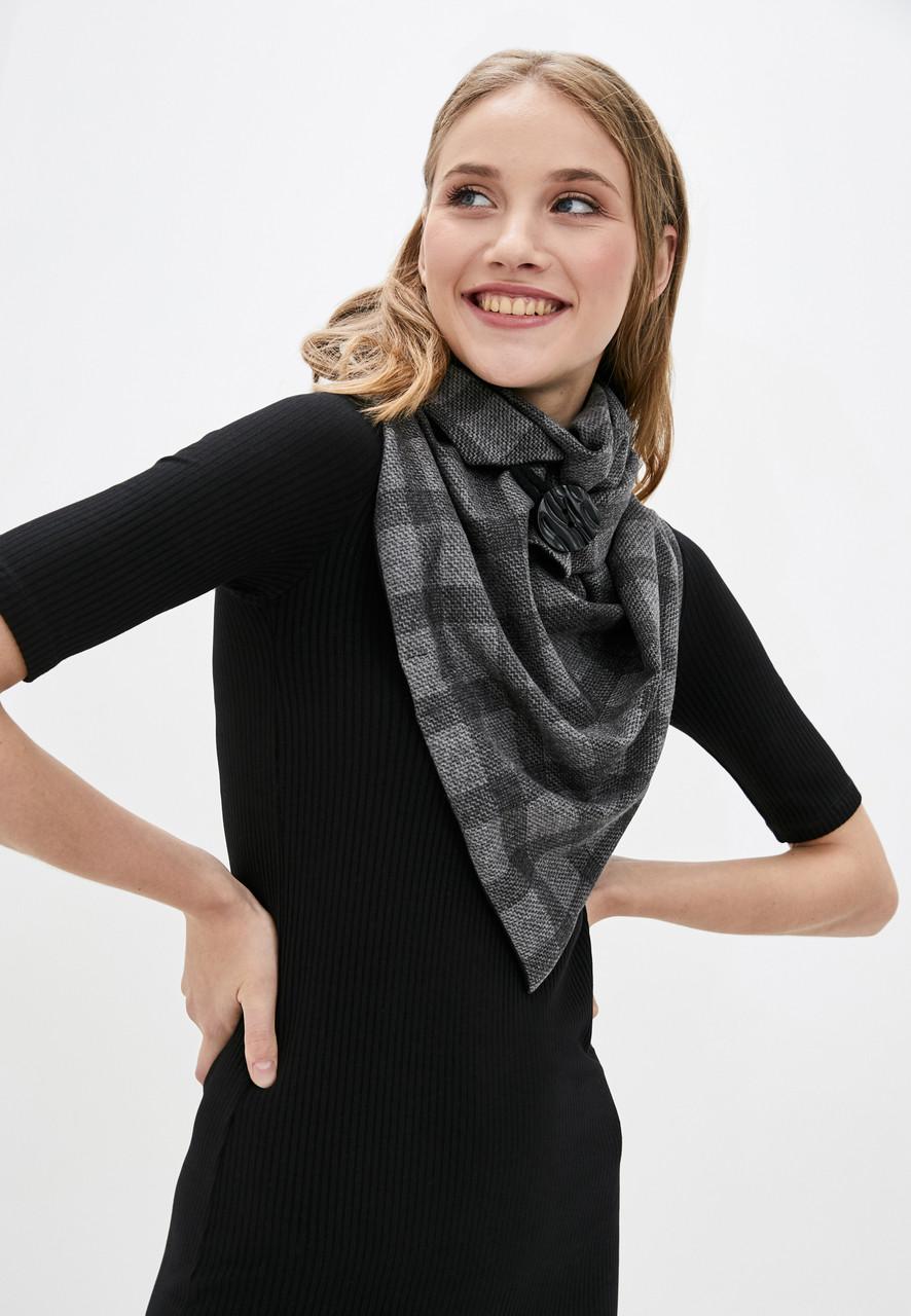 """Шарф-бактус """"эдинбург"""", черная клетка, женский шарф, большой женский шарф, подарок женщине"""