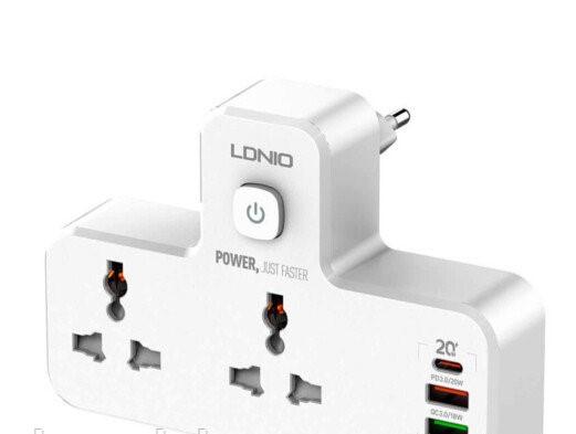 Качественный Сетевой удлинитель  Ldnio SC2311  2 USB + 1 Type-C, Быстрая зарядка с ночником