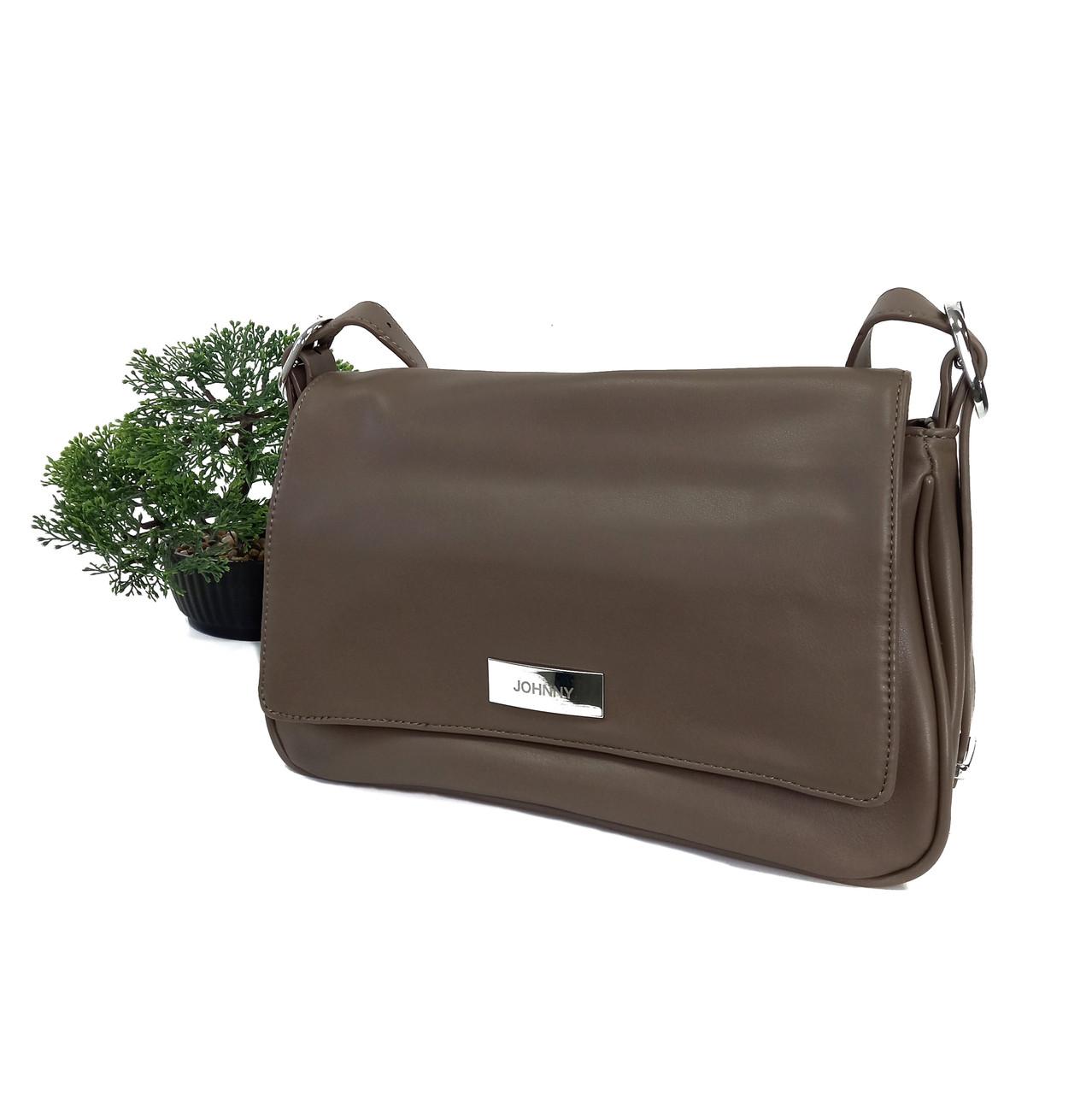 Жіноча стильна сумка-клатч кави з молоком Арт.SJ-2085 mud Johnny (Китай)