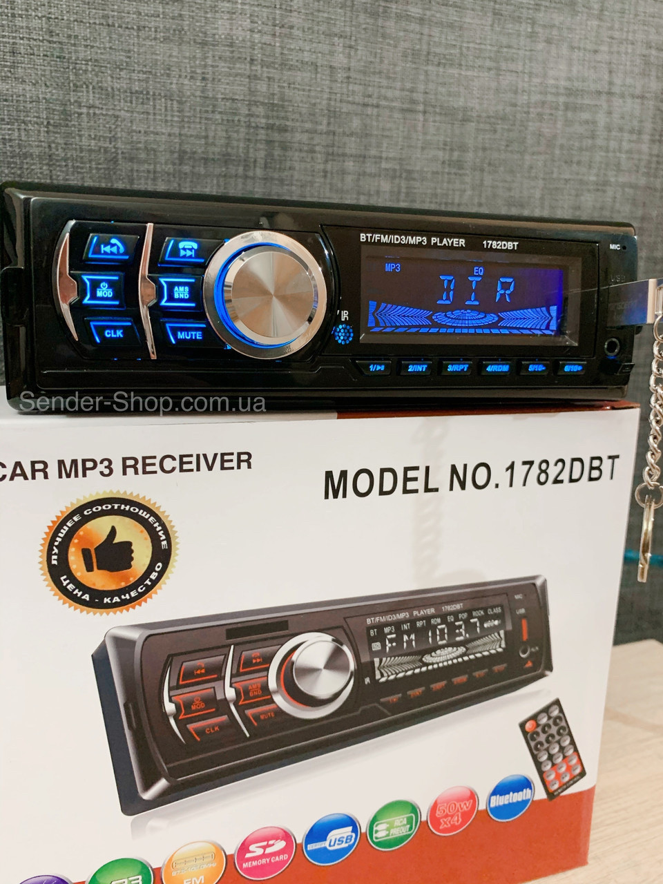 Автомагнітола знімна панель Блютуз 1DIN USB Bluetooth AUX micro SD