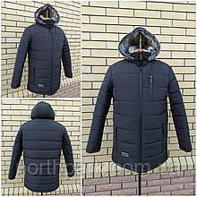 Чоловіча зимова куртка з хутряним коміром М-251, чорна