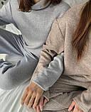 Жіночий ангоровый костюм під горло з брюками палаццо бежевий сірий світлий зимовий 42-44 46-48 теплий, фото 3