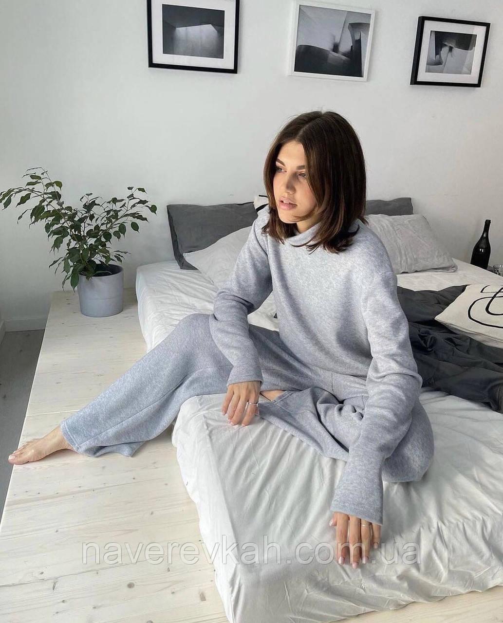 Жіночий ангоровый костюм під горло з брюками палаццо бежевий сірий світлий зимовий 42-44 46-48 теплий