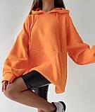 Женское зимнее худи длинное трехнитка на флисе теплое 42-48 оверсайз зеленое оранжевое серое белое, фото 3