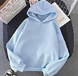 Зимний теплый худи осенний на флисе трехнитка белый голубой черный бежевый  42-44 46-48 женский, фото 4