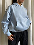 Женское зимнее худи длинное трехнитка на флисе теплое 42-48 оверсайз зеленое голубое серое белое черное, фото 3