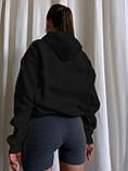 Женское зимнее худи длинное трехнитка на флисе теплое 42-48 оверсайз зеленое голубое серое белое черное, фото 5