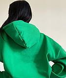 Женское зимнее худи длинное трехнитка на флисе теплое 42-48 оверсайз зеленое голубое серое белое черное, фото 6