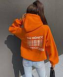 Жіночий зимовий худі яскравий трехнитка на флісі теплий 42-46 оверсайз помаранчевий малиновий теплий з принтом, фото 2