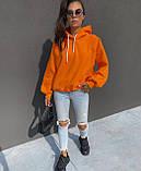 Жіночий зимовий худі яскравий трехнитка на флісі теплий 42-46 оверсайз помаранчевий малиновий теплий з принтом, фото 4