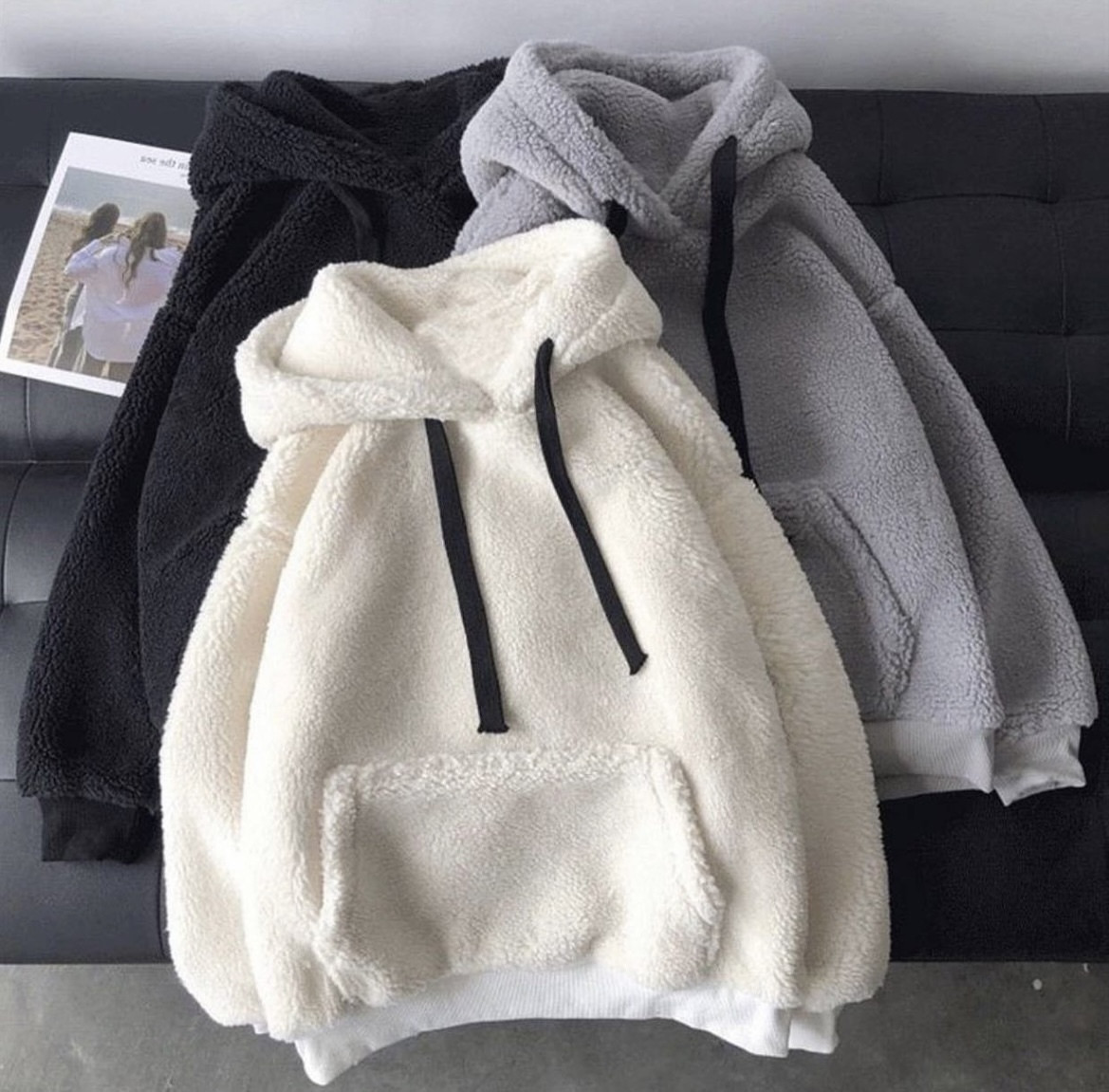 Жіноча зимове худі на хутрі супер тепле 42-46 оверсайз сіре чорне біле тедді з капюшоном стильне модне