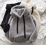 Жіноча зимове худі на хутрі супер тепле 42-46 оверсайз сіре чорне біле тедді з капюшоном стильне модне, фото 2