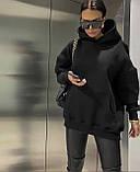 Женское зимнее худи удлиненное трехнитка с начесом теплое 42-46 48-52 оверсайз графит беж серый черный, фото 2