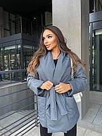 Женская модная стильная куртка на запах из плащевки силикон 150 чёрный беж малина лиловый темно серый