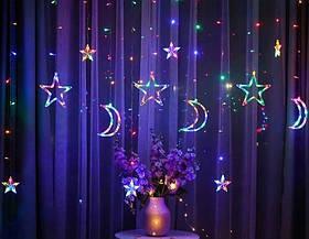 Гирлянда занавес Звезды и Месяца 2.5м 138 лед, 8 режимов Multicolor Разноцветные с переходником